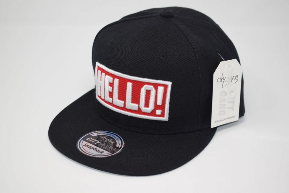 C4891, HELLO Black City Gange Snapback Caps  fits all sizes, 20% cotton and 80% polyester